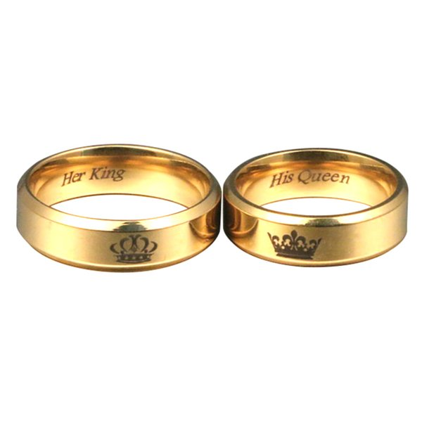 246d6366d660f 2019 Couple Rings His Queen Her King Engagement Rings Simple Stainless  Steel Gold Ring For Men Womens Fashion Dating Jewelry From Keyigou, $7.77 |  ...