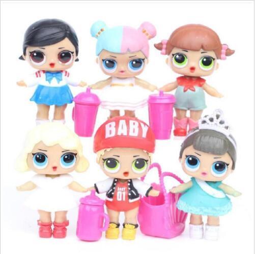 Poupée 8CM avec biberon américain PVC Kawaii Enfants Jouets Anime Figurines Réalistes Poupées Reborn pour filles 6Pcs / lot