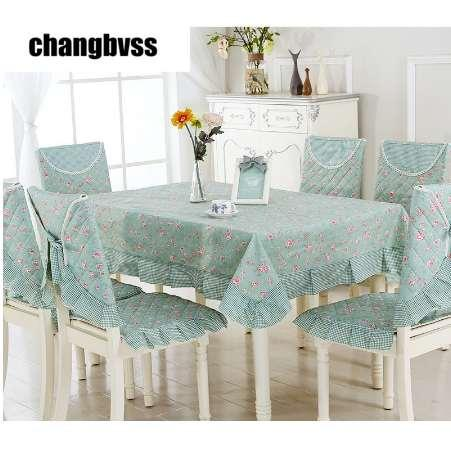 Spring Style Green Table Cloth 9pcs/set Chair Mat+Chair Cover+Tablecloth Set Home Party Wedding Tablecloth toalha de mesa