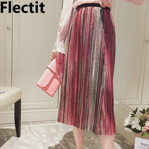 334152d777 Flectit metálico brillo lurex raya falda midi plisada vintage de  lentejuelas cintura alta acordeón plisado faldas