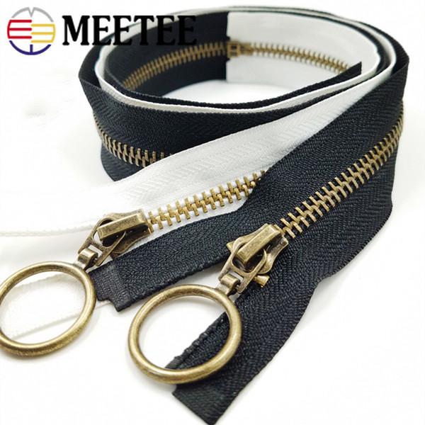 Meetee 50/70 cm 5 # Metall Kupfer Zahn Open-End Reißverschluss Daunenjacke Dekoration Reißverschluss DIY Kostüm Kleidungsstück Nähen Material ZA015