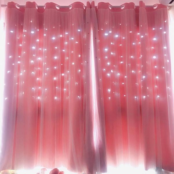 Hollow Star Pink Blackout Curtains Dormitorio Dormitorio Cortina de la ventana para la habitación de la princesa Persianas Cosido Con Voile Blanco 1 unid Q190530