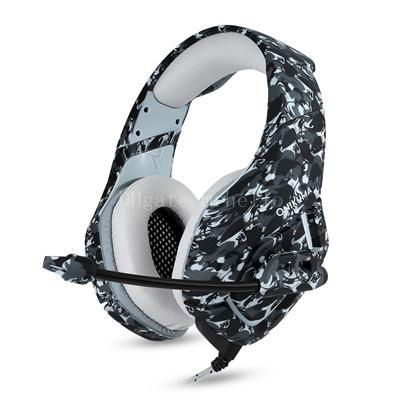 ONIKUMA K1-B Camouflage Computer Gaming 3.mm Single Line Headphones Lighting Noise Reduction Subwoofer Headphones With Microphone Headphones