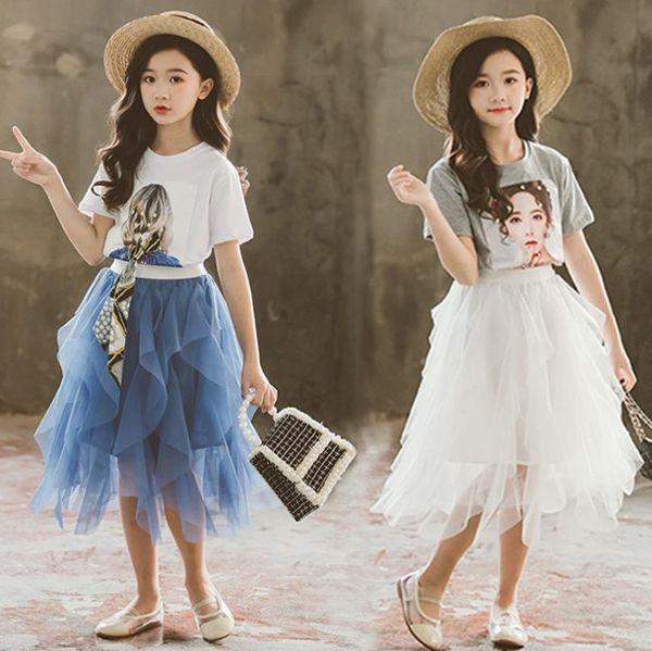 Sweet girls princess outfits summer new kids letter character impreso ribbon con cordones camiseta de manga corta + falda de tul de encaje 2pcs sets F7096
