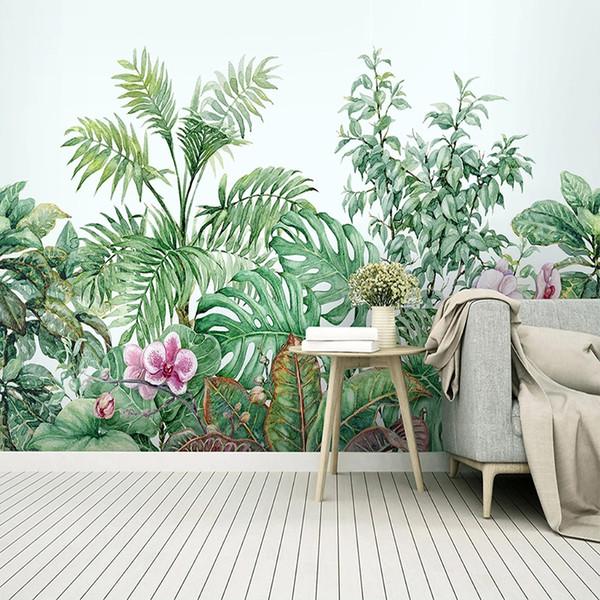 Personnalisé Mur Papier Peint 3D Aquarelle Plante Plantes Feuille Fleurs Photo Mur Peinture Salon Chambre Moderne Décor À La Maison