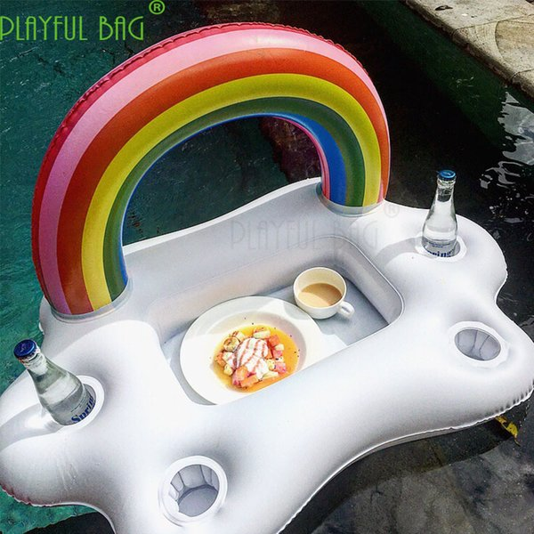 best selling Rainbow party inflatable large tray beer swimming pool party beach swimming circle women decoration
