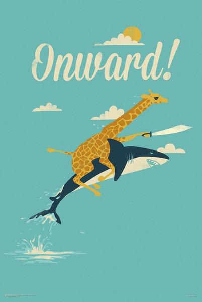 ONWARD - CUTE GIRAFFE & SHARK Art Silk Poster 24x36inch 24x43inch 0585