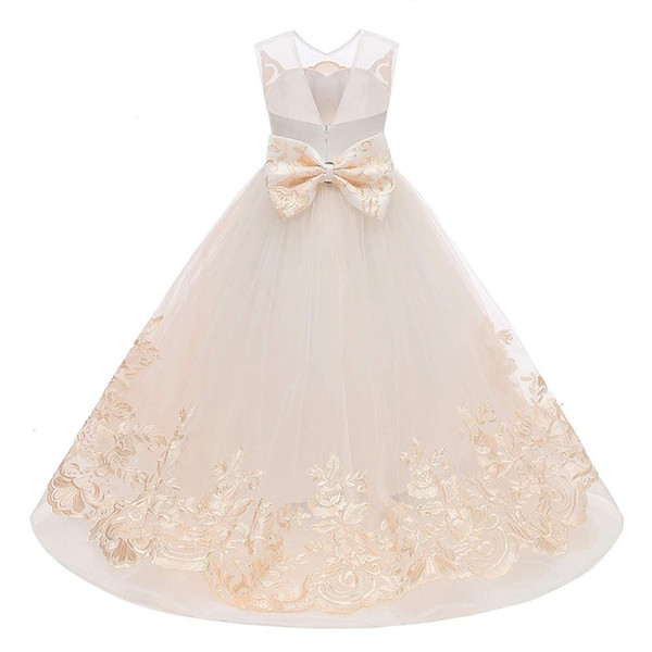 Precioso vestido de bola de champán Vestidos de niña de las flores Real Photo V Recortar apliques Puffy Tulle Girls Pageant Kids Desgaste formal