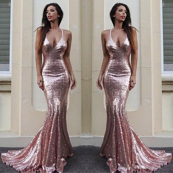 Sparkling Sequined Deep V Neck Prom Dresses Long Rose Gold Mermaid Evening Dress Plain Sexy Low Backless Bridesmaid Dress Long Cheap