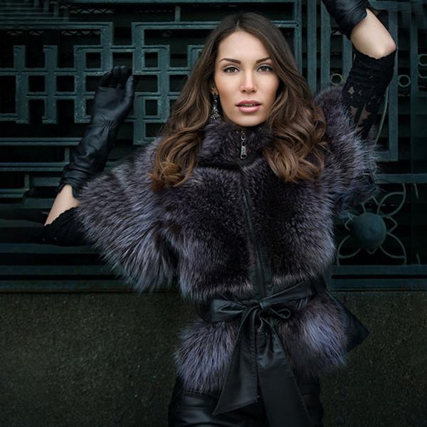 TOPFUR 2019 패션 겨울 슬림 코트 (가죽 자켓) Natural Blue Fox 리얼 모피 코트 여성용 반팔 Manteau Femme