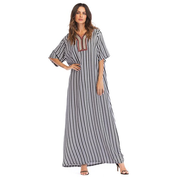 464059974145 Black white stripe Vintage ethnic embroidery design maxi long dress for  women urban casual loose dress