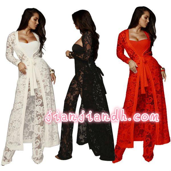 Costumes pour femmes 19 commerce extérieur européen et américain sexy automne robe en dentelle pantalon à jambe large trois pièces costume décontracté mode haut de gamme 810