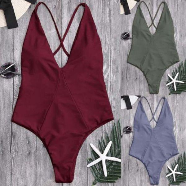 colore solido vestito donne calde del bikini imbottito Push-Up Bra Bathing benda senza schienale costume da bagno Beachwear vita alta Swimwear biquini