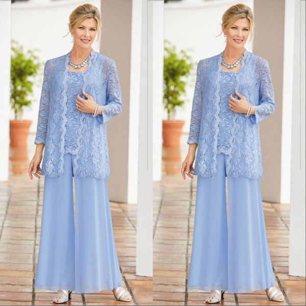 Sky Blue Long Sleeves Mother of The Bride Suits Lace Appliqued Three Pieces Mother Evening Formal Wear With Jacket Pnats Plus Size