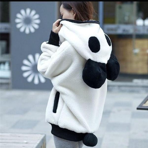 Winter Coat Overcoat Woman Cute Bear Ear Panda Winter Warm Hoodie Coat Lady Hooded Jacket Outerwear Blouse Coats Femme Parka