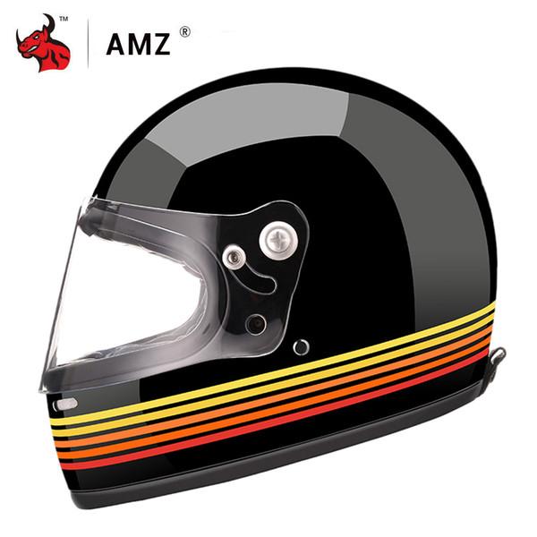 AMZ Full Face Motorcycle Helmet Motocross Racing Helmet Men And Women Casco Moto Glass Fiber Reinforced Shell Moto Helmets