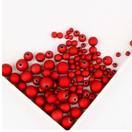 6mm / 8mm / 10mm / 12mm / 14mm / 16mm Perles Acryliques Couleur Noir Rouge Mat Perles Lâches Perles À La Main Fabrication de Bijoux Bracelet DIY