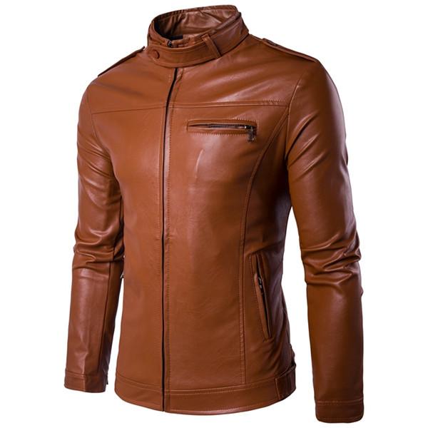YuWaiJiaRen Autumn Spring Men's Leather Jacket Motorcycle Fashion Casual Red Men PU Jackt Jaqueta De Couro Masculino 5XL
