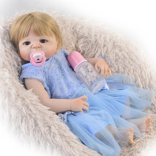 22inch Lifelike Silicone Reborn Baby Menina Alive lifelike handmade fashion dolls bebe Infant Clothes Truly Kids Playmates