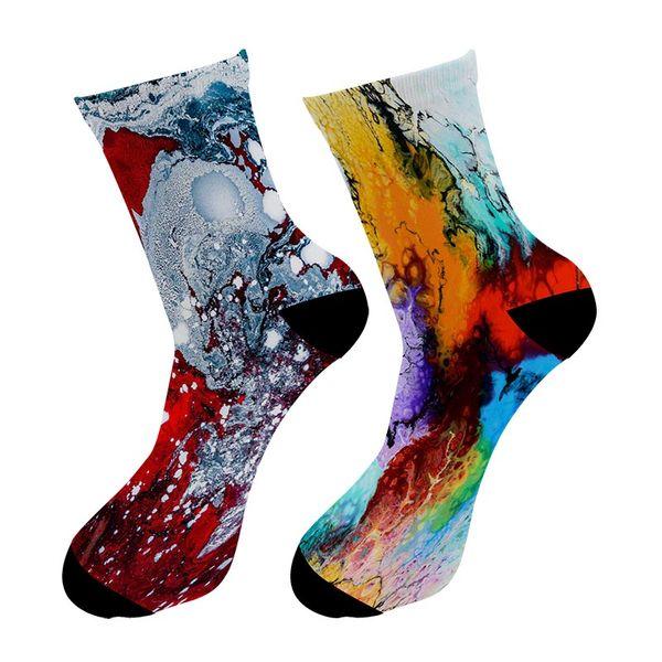 Fashion New 3D Printed Street Art Painting Crew Socks Men Graffiti Oil Painting Long Socks Street Trend Men's Dress Tube