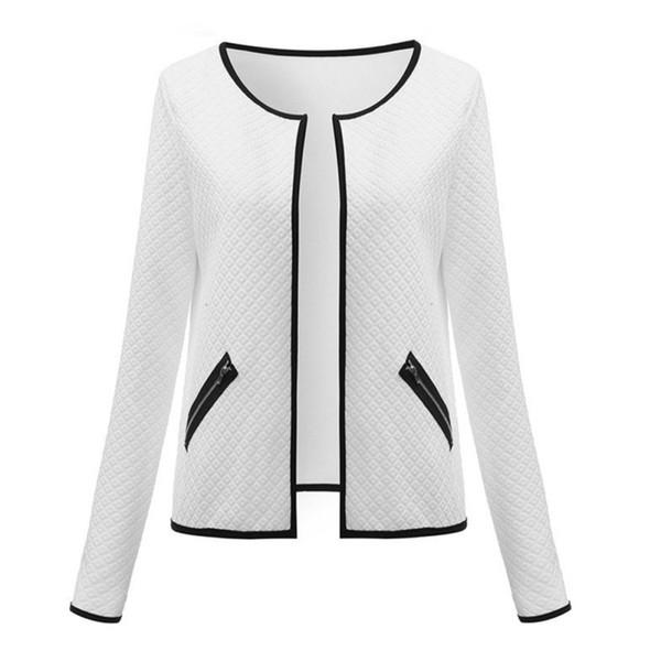 2018 Autumn Cardigan Jackets Plus Size Pockets Long Sleeve Collarless Open Stitch Plaid Short Coat Elegant Jackets