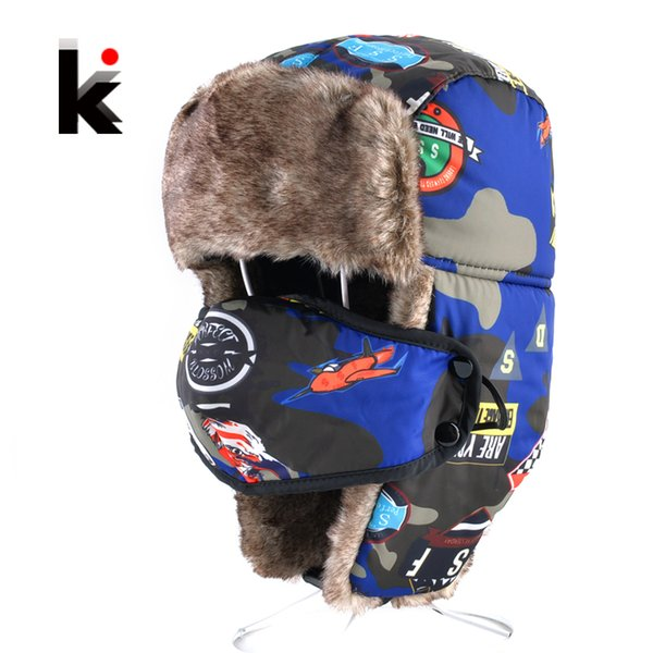 bomber hats for boys and girls winter kids outdoor faux fur thick caps with ear flaps warm children camo trapper hat masks cap thumbnail