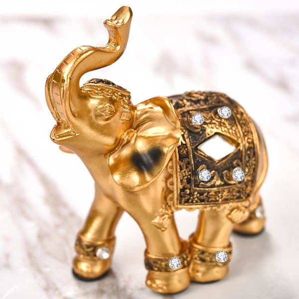 Ecoration Crafts Figuren Miniaturen 1pc Nette 9x9cm Golden Elephant Exquisite Resin Ornaments Dekorationen Hochzeitsgeschenke ...