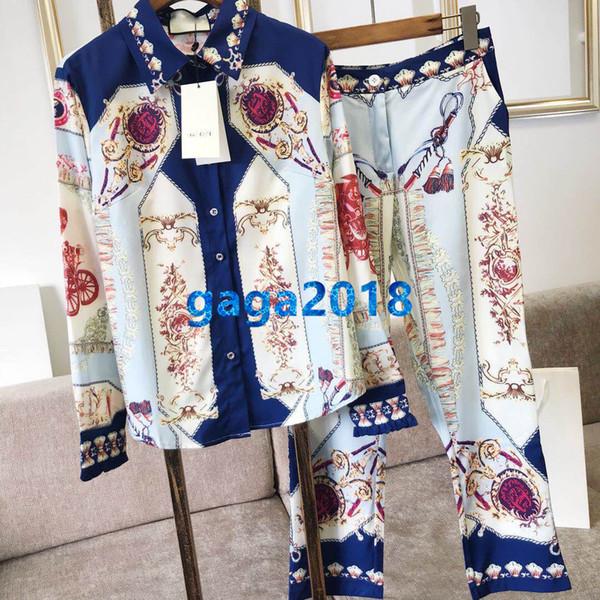 Mulheres Meninas Transporte Geométrico Impresso Blusa de Duas Peças Calças Lapela Pescoço Top Camisa T-Shirt + Solta Calça Calça Pista De Corrida Do Vintage conjunto de Pijamas