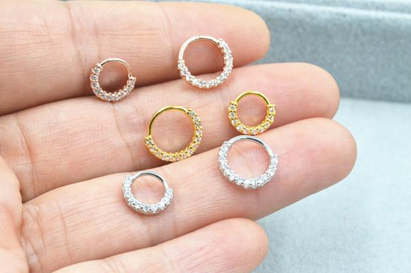 50pcs Body Jewelry Piercing - CZ Shine Lip Labret Ring Ear Helix Bar Lip Piercing Bend Nose Septum Ring 18gx6/8mm Bend Style