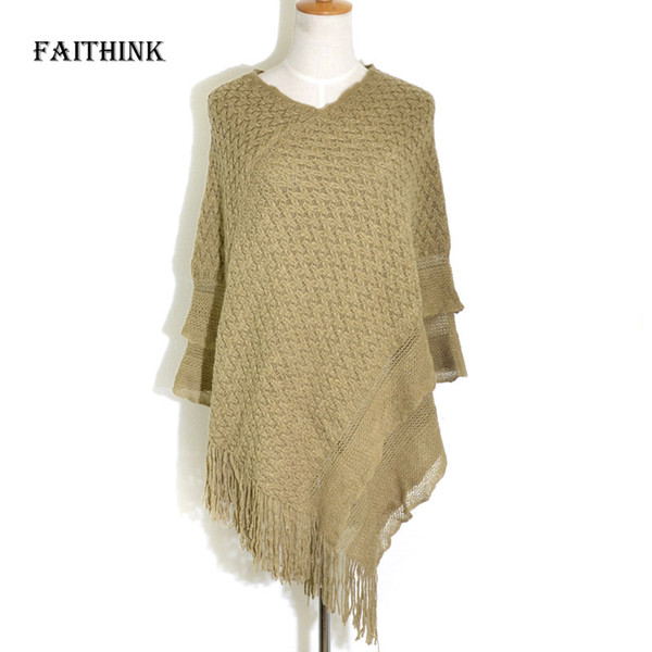 [FAITHINK] Women Winter Knitted Pullover Loose Tassel Sweater Female Warm Blanket Cardigan Jumper Ponchos and Shawls Scarves