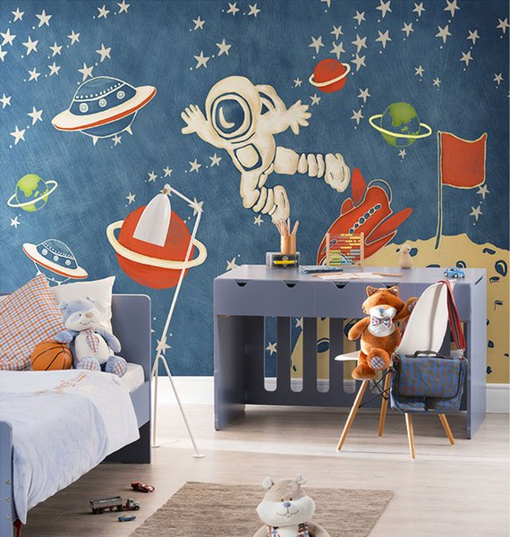 Cartoon Spacecraft Wallpaper Mural 3d Wall Photo Mural for Kids Room Sofa Background 3d Outer Space Wall paper Mural Decor