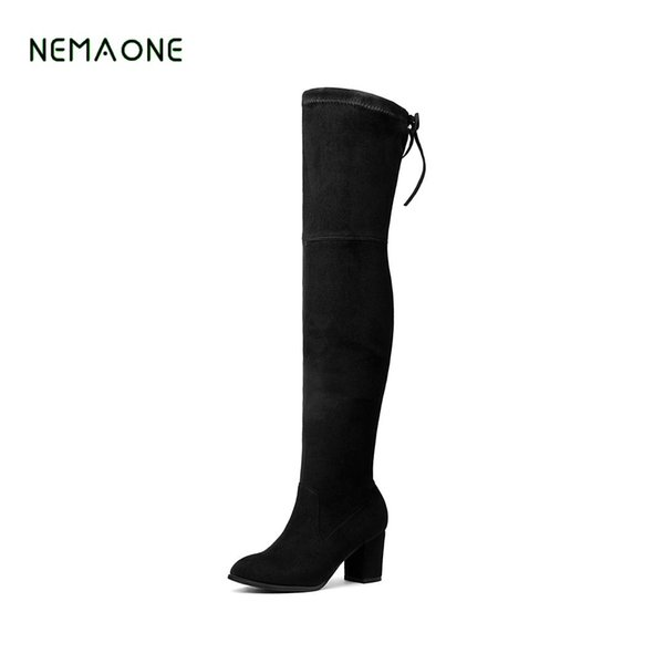NEMAONE Faux Suede Slim Boots Sexy over the knee high women snow boots women's fashion winter thigh high shoes woman