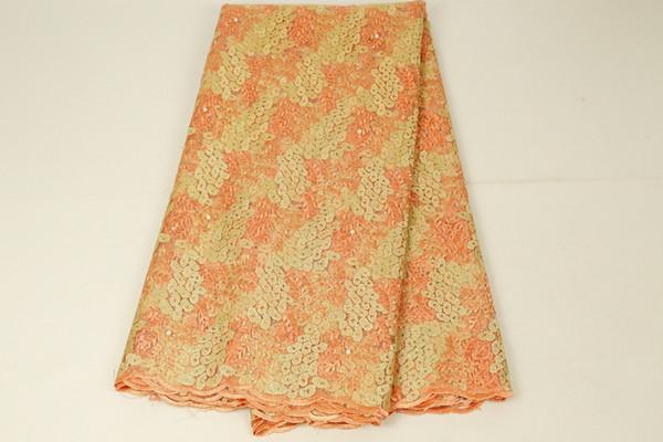 Tissu français de dentelle de tissu nigérian de luxe français pour des robes de soirée de mariage La dernière dentelle africaine de tulle avec des pierres