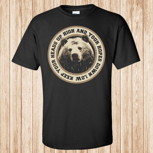 Ayı Headsup t-shirtFunny ücretsiz kargo Unisex Rahat Tişört üst