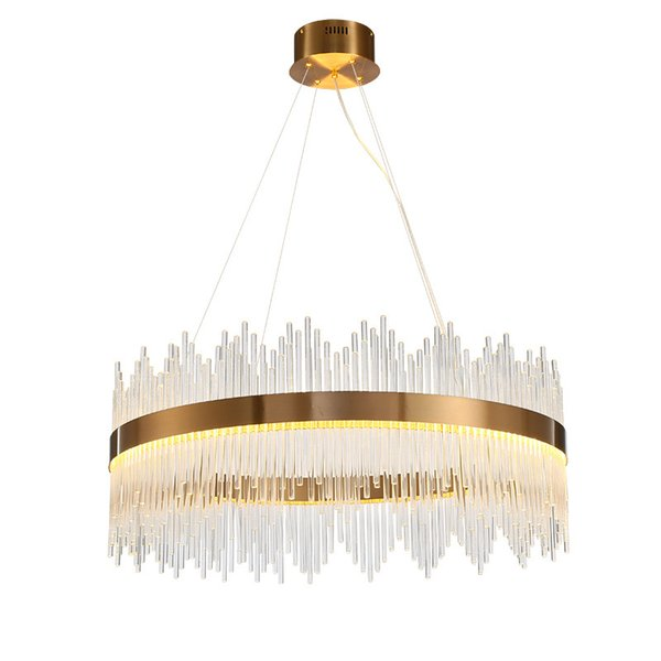 Modern Crystal Chandelier Round Luxury Dining Room Suspension Luminaire Home Decoration LED Hang Lighting Fixture AC 90-260V