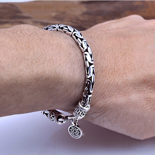 100% Real 925 Sterling Silver Men Bracelet Thick Safe Pattern Vintage Punk Rock Style Bangle Men Fine Jewelry Father's Day Gift Y19051002