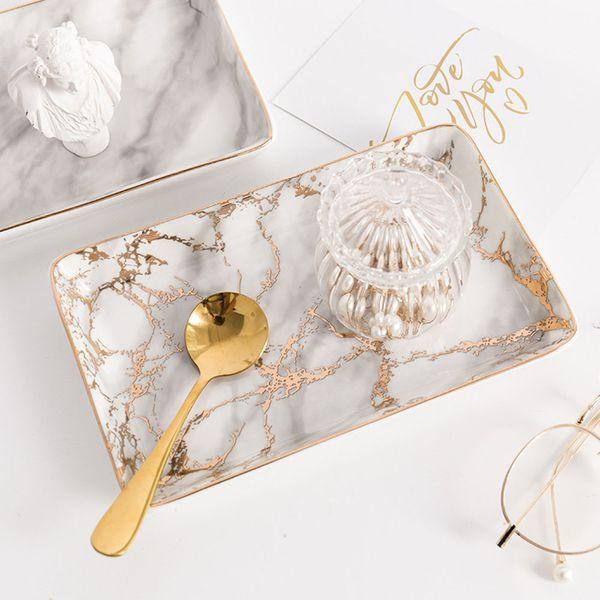 Nordic Storage Trays Marble Pattern Ceramics Table Minimalist Dessert Jewelry Storage Plate Office Desk Storage Trays Organizer