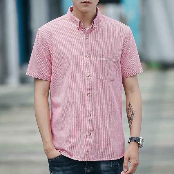Primavera Verão Camisa Roupas Masculinas 2019 Streetwear Coreano 100% Algodão Camisas Dos Homens Casual Homens Tops Camisa Masculina D703 ZT2494