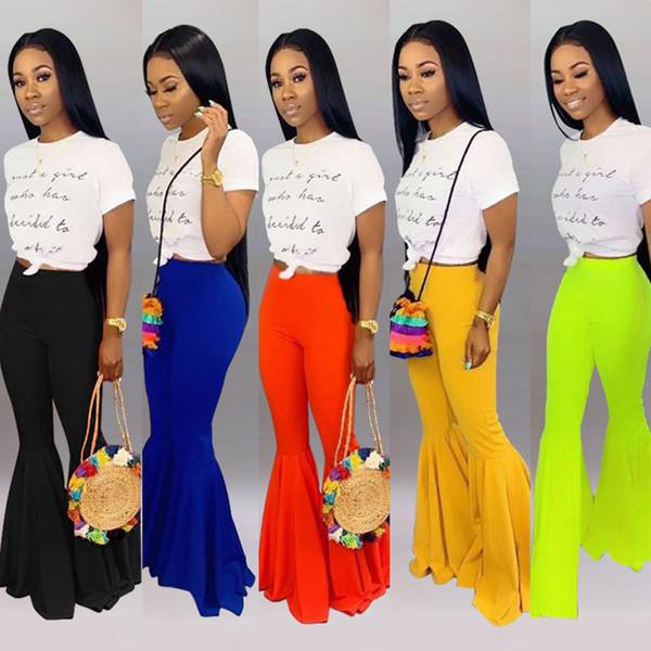 Женские оборки Hem Flare длинные брюки Summer Candy Colours Эластичная высокая талия узкие во всю длину Bootcut Брюки повседневные брюки-колготки Леггинсы