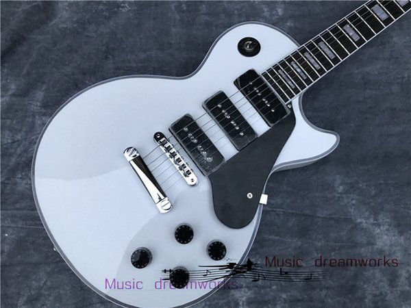 Guitare électrique de Chine, blanche, trois pickup style P90, livraison gratuite