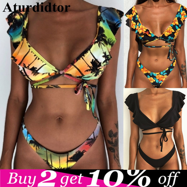 Sexy Mini Bikini Abgesetzt Schulter Rippen Tanga Badeanzug Badeanzug Bademode Bandeau Floral Schwimmen Anzug Brasilianische Biquni 2019