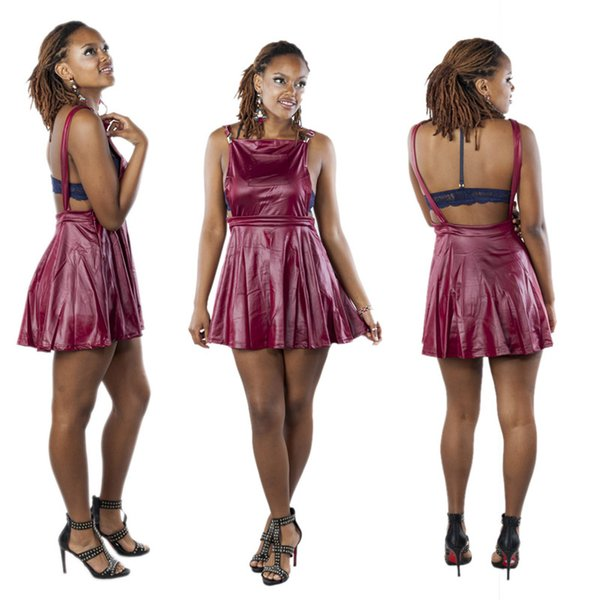 frauen kleid leder hosenträger kleid burgund einteilig schlank rock rückenfreies minikleid mode lässig frauen kleider xl 811