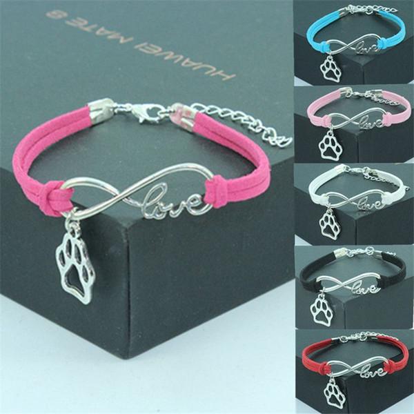 Suede Leather Wrap Bracelets Bijoux Infinity Amour Chien Empreinte De Patte Charmes Argent Nombre De Mode Alliage De Métal Creux Bracelets Cadeaux pour Femmes Hommes