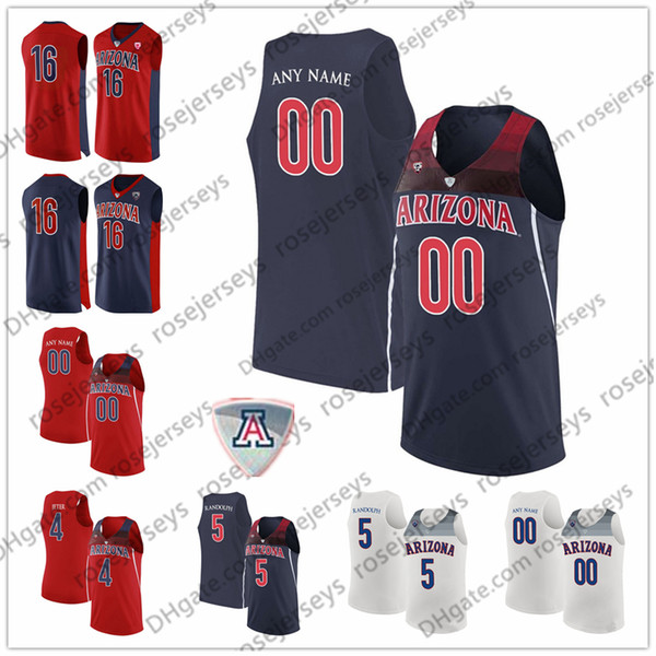 Custom Arizona Wildcats College Basketball Any Name Number Red Navy Blue White 5 Brandon Randolph 2 Williams 4 Chase Jeter NCAA Jersey S-3XL