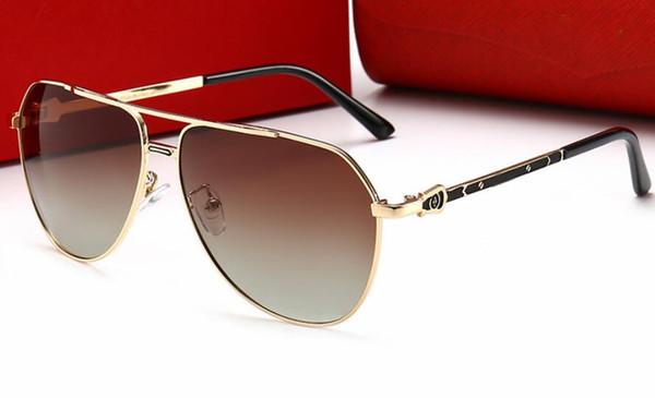 Gafas de sol clásicas de actitud dorada Gafas de sol de piloto cuadrado Gafas de sol de diseñador de lujo para hombre Gafas de sol de gafas Gafas de sol Nuevas con caja