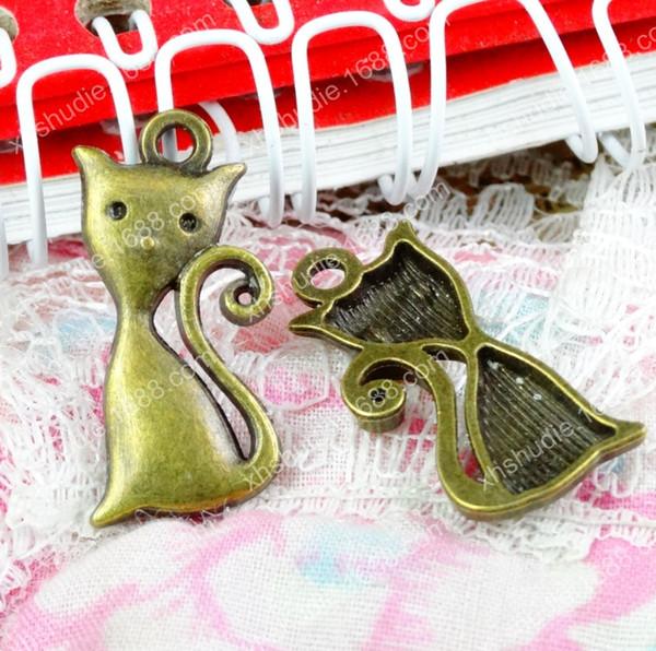 100pcs 24.7*11.6MM antique bronze tibetan alloy fox animal charms for bracelet vintage metal pendant earring handmade DIY jewelry making