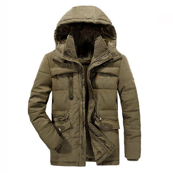 Vellón de invierno para hombre Abrigos acolchados de algodón más el tamaño XL-7XL 8XL chaqueta gruesa chaqueta de abrigo térmica de forro de abrigo térmico Sombrero desmontable