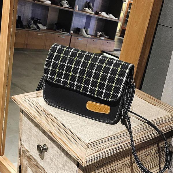 Кожа качества закрылков сумка Мода Плед печать Сумка Сумка Basic Color Blocks Мини-мешки плеча портативного Crossbody