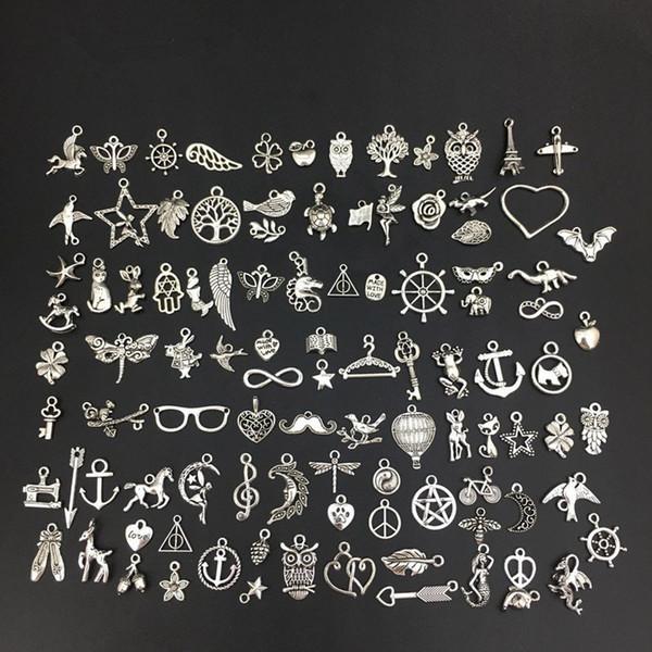 300 unids / lote encantos colgantes de animales de plata tibetana estilos del océano mixto accesorios de metal para diy collar pulsera fabricación de joyas