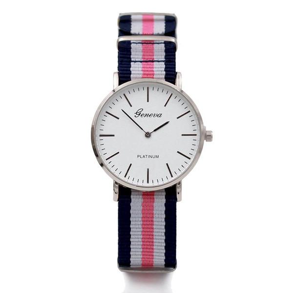 Горячая распродажа хорошее качество известный бренд часы мода свободного покроя женщины нейлоновый ремешок 40 мм женева часы Relogio мужские кварцевые пара подарок